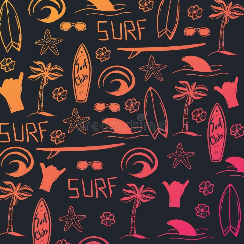 Fond d'aspiration de main de ressac d'été avec la planche de surf, la vague, le palmier et le requin illustration de vecteur