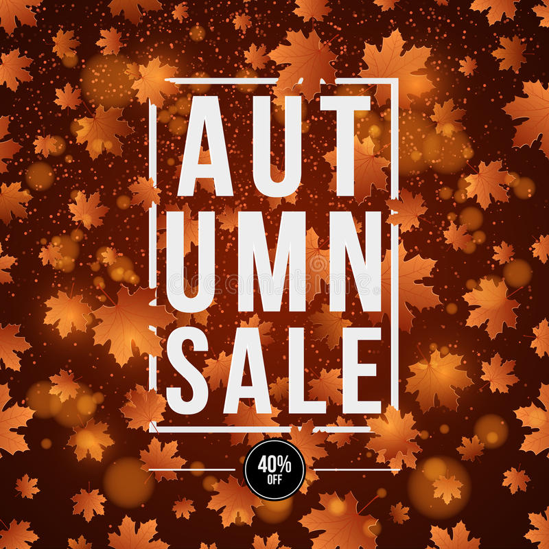 Fond d'automne Affiche pour faire de la publicité la vente d'automne Carte _1 d'invitation Bannière de livre blanc avec le texte  illustration libre de droits