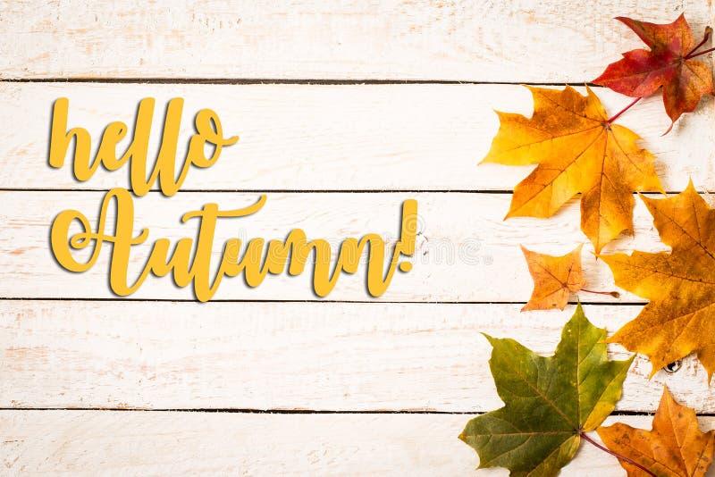Fond d'automne avec bonjour des lettres d'automne, feuilles d'automne photos stock