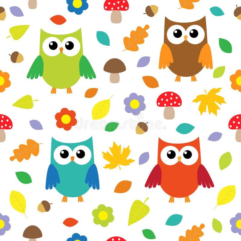 Fond d'automne avec des hiboux illustration stock