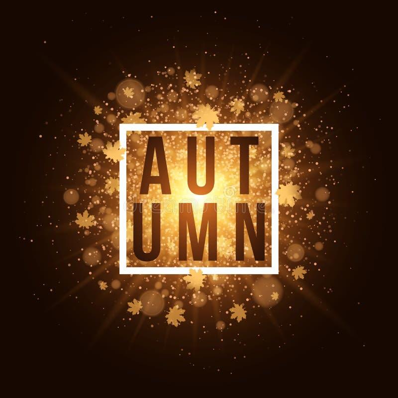Fond d'automne avec la bannière blanche et le texte noir Feuilles d'or d'érable Éclair lumineux d'or abstrait de lumière Fusée or illustration stock