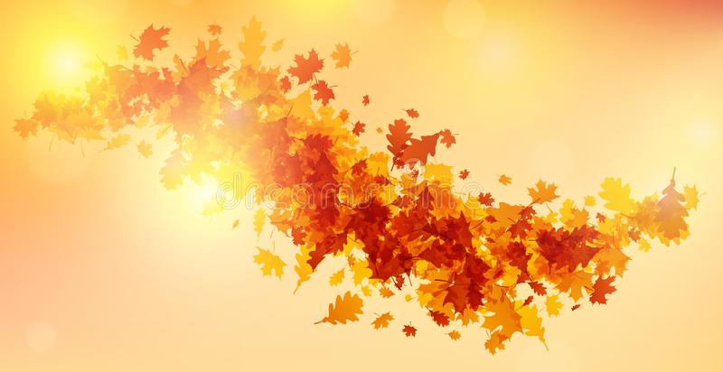 Fond d'automne avec les feuilles d'or illustration stock