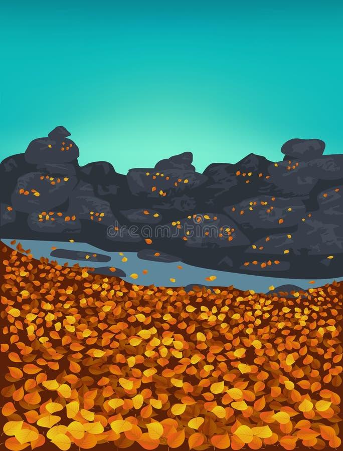 Fond d'automne avec les feuilles d'or en baisse illustration de vecteur