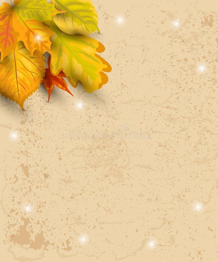 Fond d'automne avec les feuilles en baisse sur le papier de métier illustration libre de droits