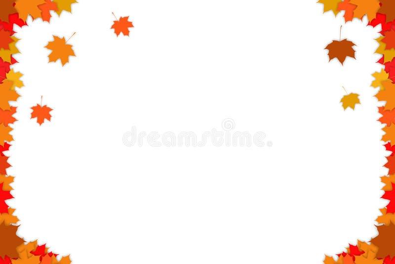 Fond d'automne avec les feuilles d'automne multicolores Fond blanc illustration de vecteur
