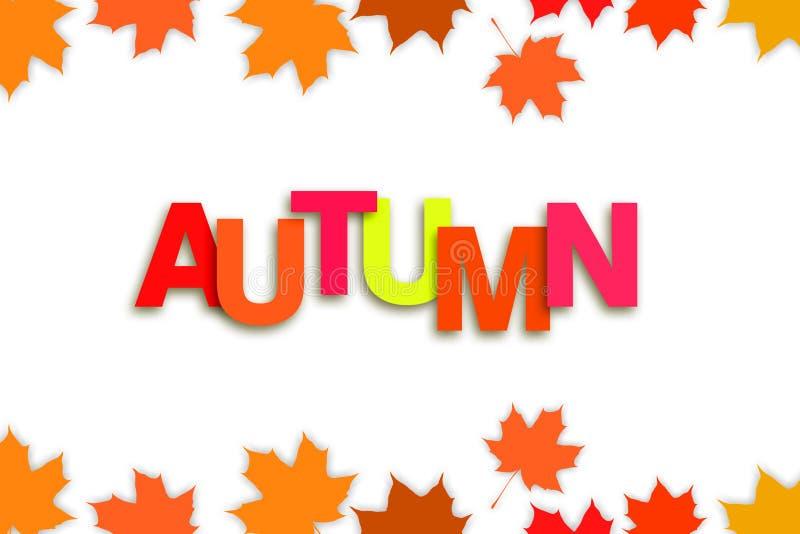 Fond d'automne avec les feuilles d'automne multicolores Fond blanc illustration stock