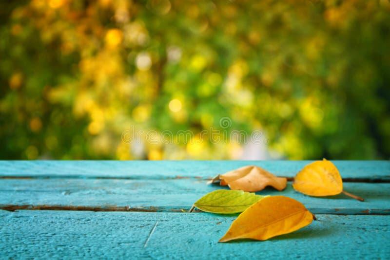 Fond d'automne avec les feuilles sèches sur la table en bois images stock