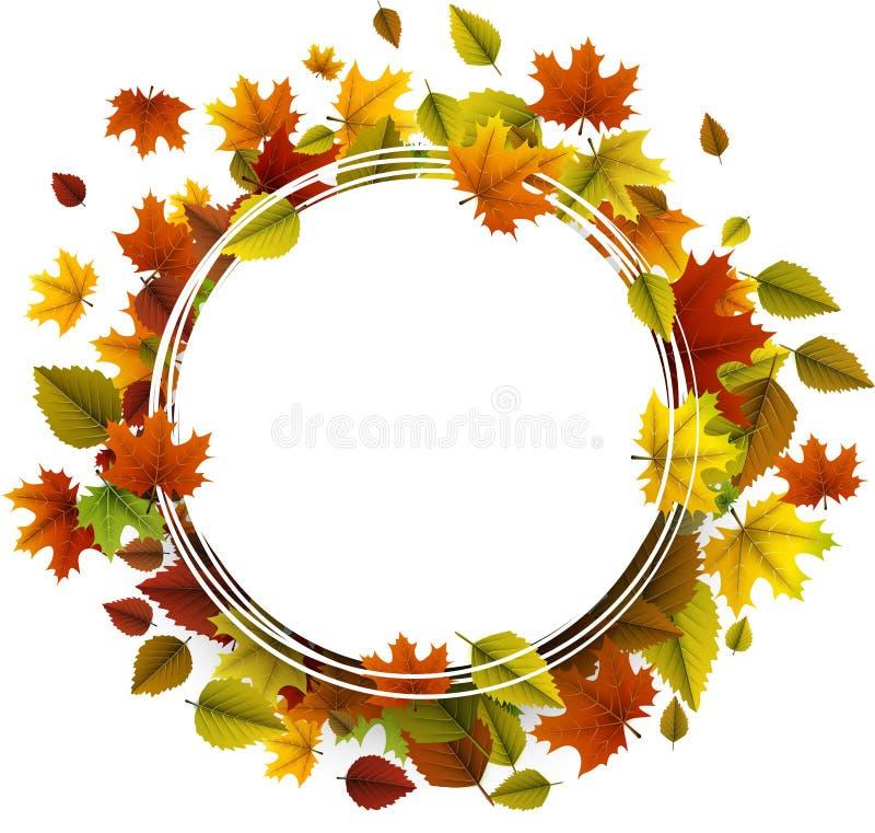 Fond d'automne avec les lames colorées illustration stock