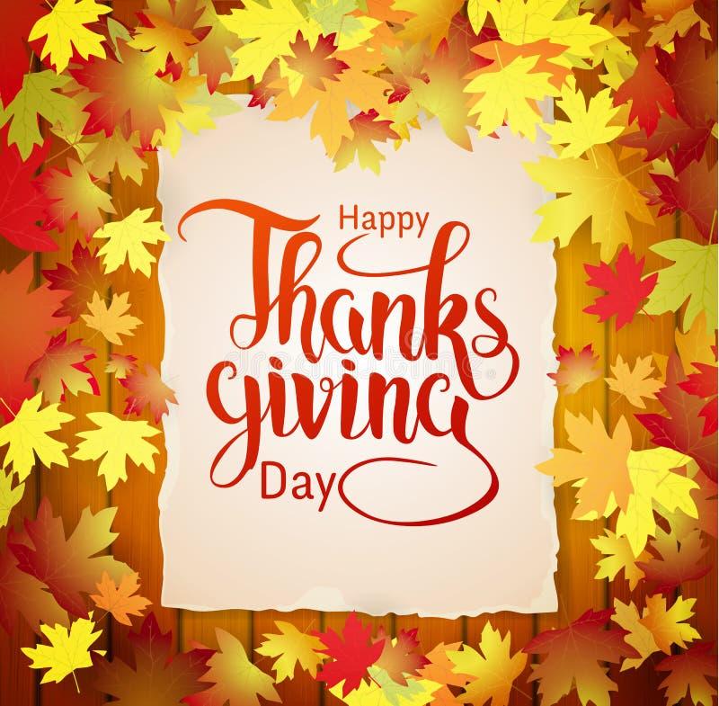 Fond d'automne avec marquer avec des lettres le thanksgiving heureux photographie stock
