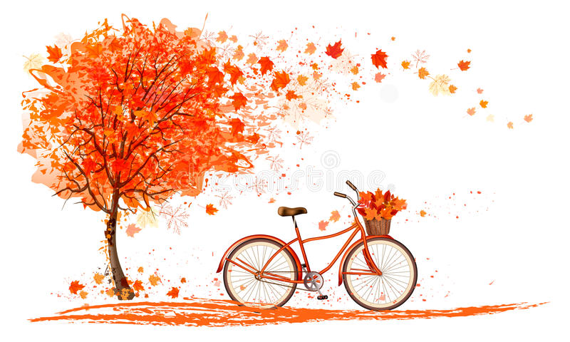 Fond d'automne avec un arbre et une bicyclette illustration libre de droits