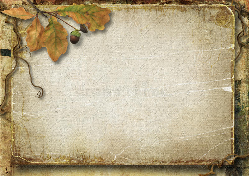 Fond d'automne de vintage avec des feuilles et des glands de chêne photo libre de droits