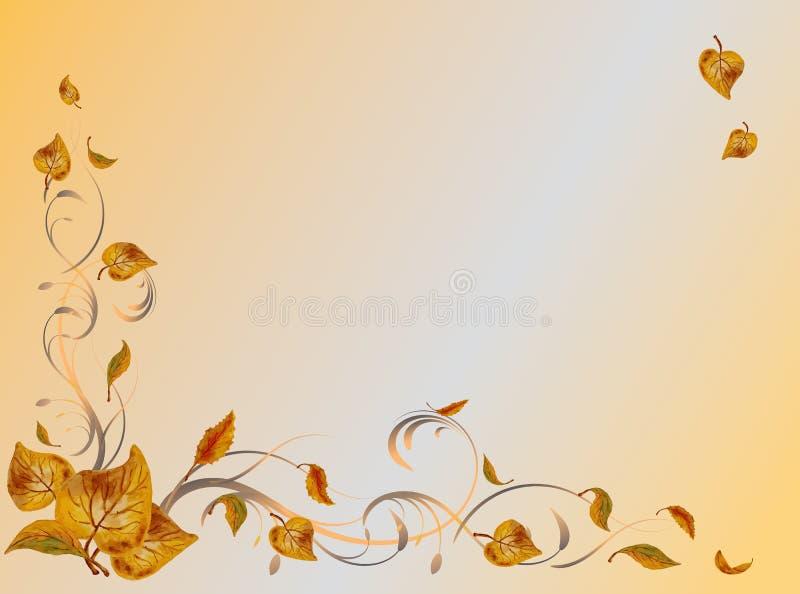 Fond d'automne Feuilles jaunes sur des branches sur le fond d'aquarelle avec l'endroit pour l'ornement d'automne des textes illustration de vecteur
