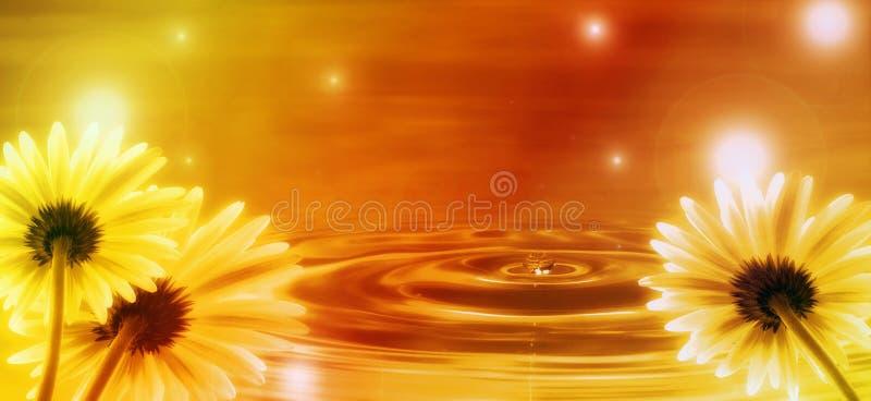 Fond d'or avec des fleurs image stock