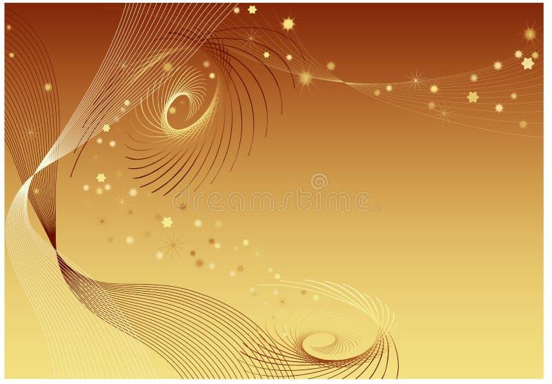 Fond d'or avec des pirouettes illustration libre de droits