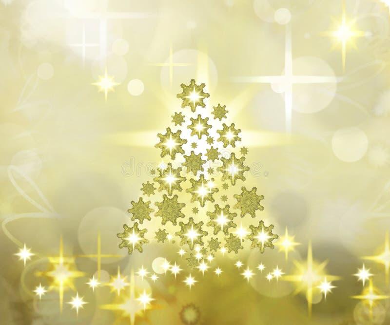 Fond d'or d'arbre de Noël illustration stock