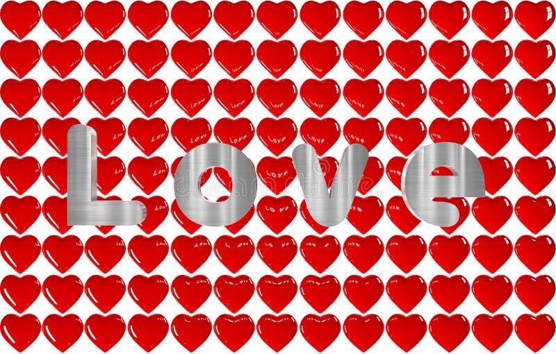 fond 3D de beaucoup de coeurs avec l'AMOUR d'inscription illustration libre de droits