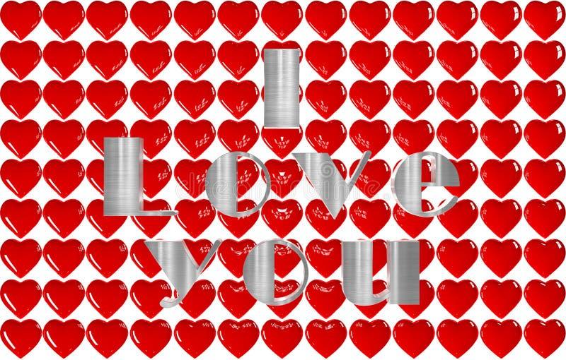 fond 3D de beaucoup de coeurs avec l'AMOUR d'inscription illustration stock