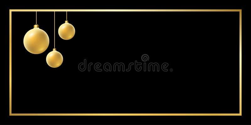 Fond d'or de boule de Noël illustration de vecteur