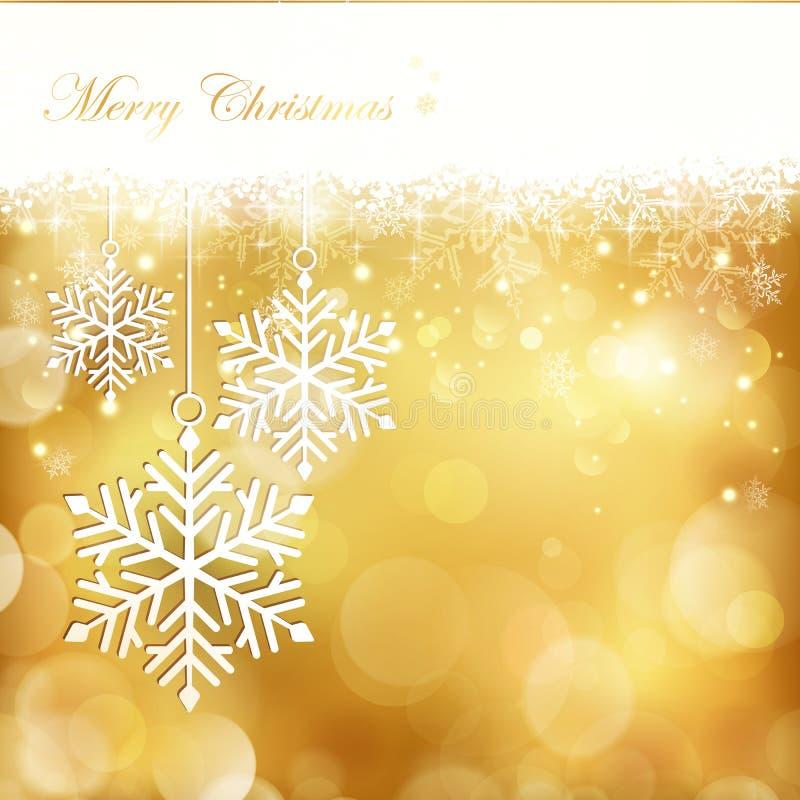Fond d'or de flocon de neige de Noël illustration de vecteur