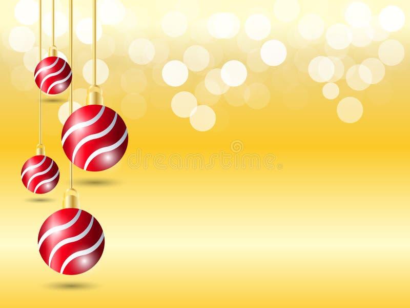 Fond d'or de gradient avec la lumière de bokeh Fond de Noël avec la décoration rouge accrochante de boule du ruban quatre illustration libre de droits