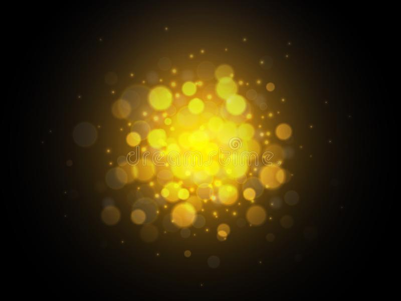 Fond d'or de lumières de Bokeh Concept de Noël Illustration de vecteur illustration stock
