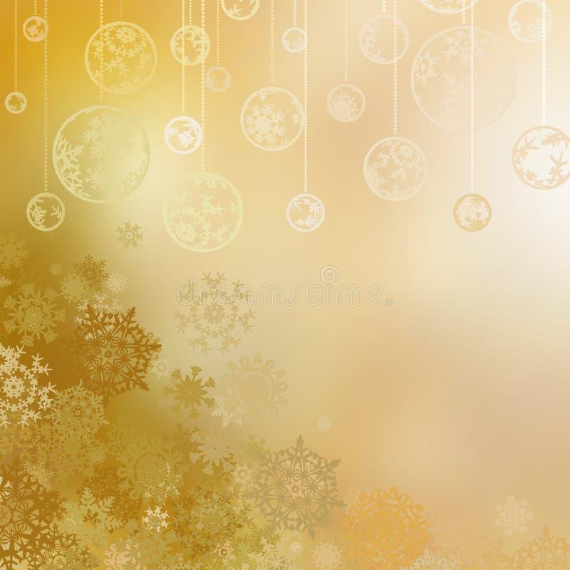 Fond d'or de Noël avec des babioles. ENV 8 illustration stock