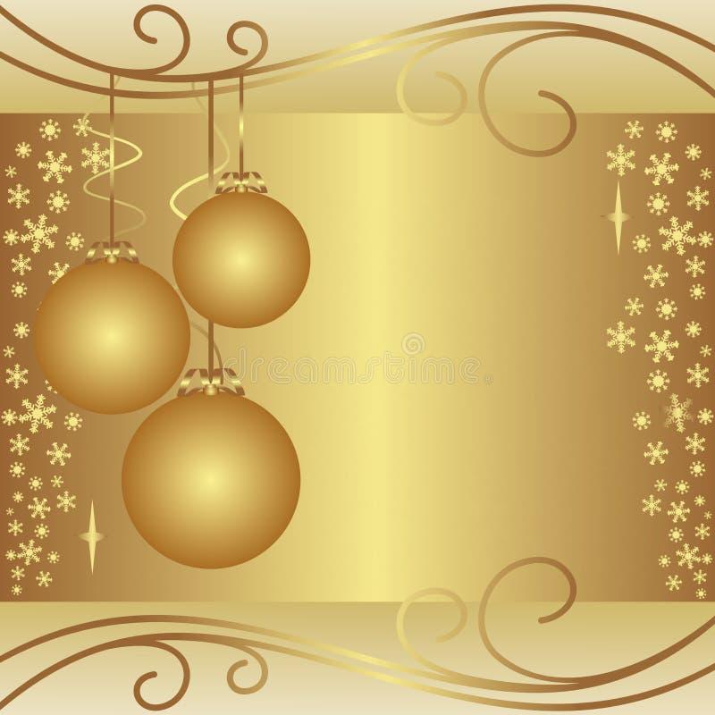 Fond d'or de Noël avec des boules. illustration de vecteur