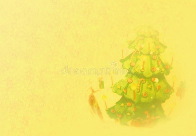 Fond d'or de Noël avec l'arbre image libre de droits