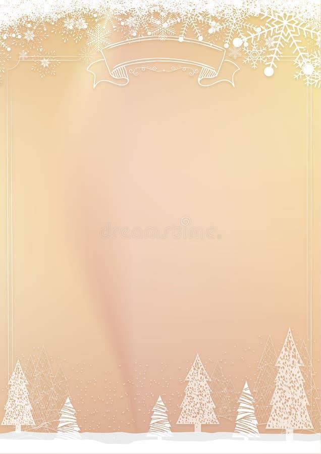 Fond d'or de Noël avec la frontière de boule de flocon de neige et de Noël illustration libre de droits