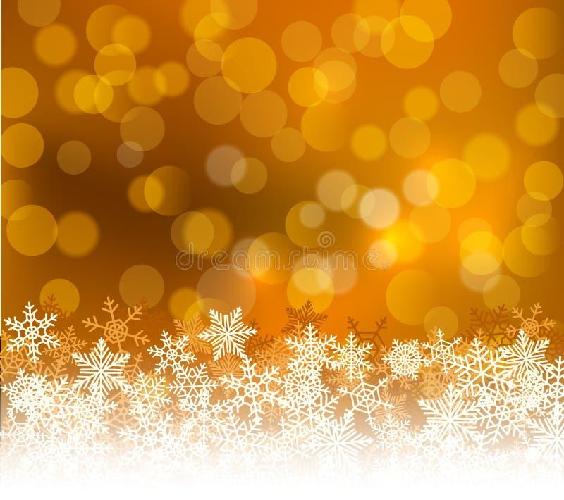 Fond d'or de Noël de bokeh d'hiver avec des flocons de neige Décoration de vacances de bokeh de Noël pour la carte de voeux illustration libre de droits
