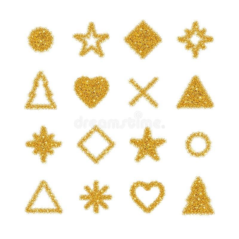Fond d'or de scintillement de formes illustration stock