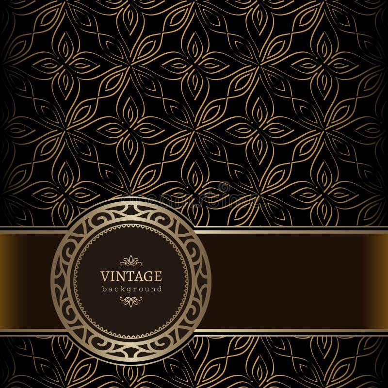 Fond d'or de vintage avec le label ornemental d'or illustration stock