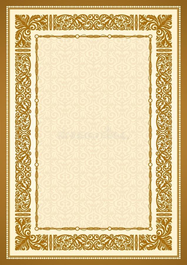 Fond d'or de vintage, cadre antique de style illustration stock