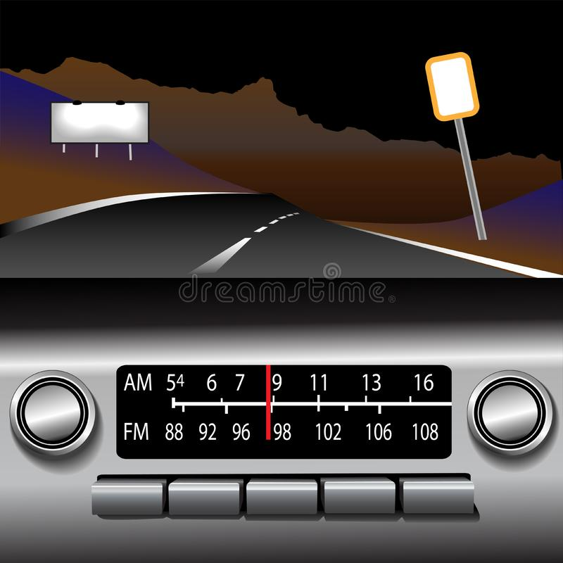 Fond d'entraînement d'omnibus de la radio AM FM d'Ashboard illustration libre de droits
