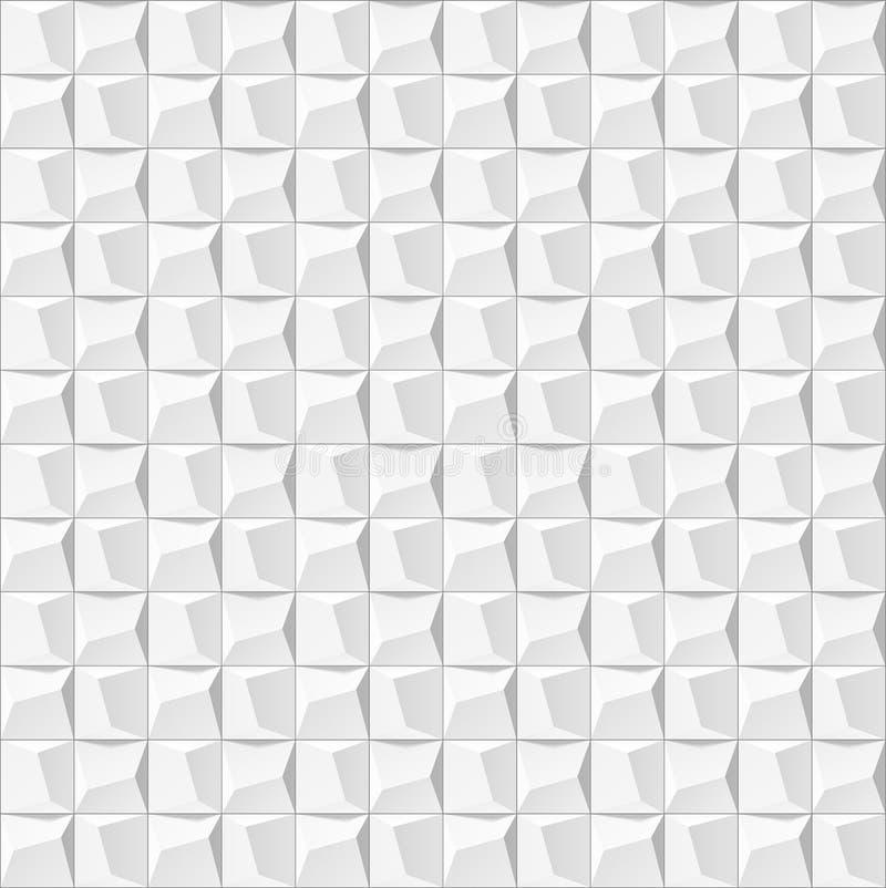 Fond 3d géométrique blanc abstrait Texture sans couture blanche avec l'ombre Texture blanche propre simple de fond wal 3D intérie illustration de vecteur