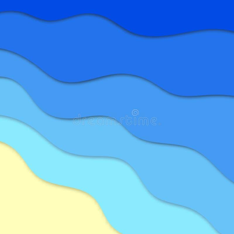 Fond d'heure d'été de vecteur, vue de vawes de mer illustration de vecteur