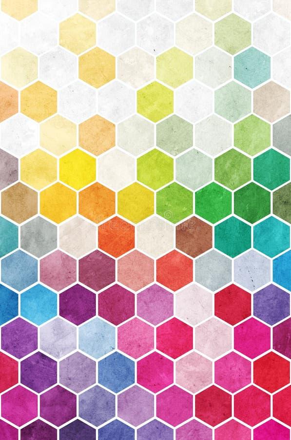 Fond d'hexagones d'arc-en-ciel images libres de droits