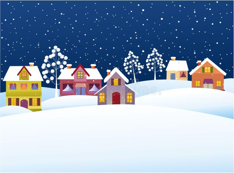 Fond d'hiver avec des maisons de bande dessinée illustration libre de droits