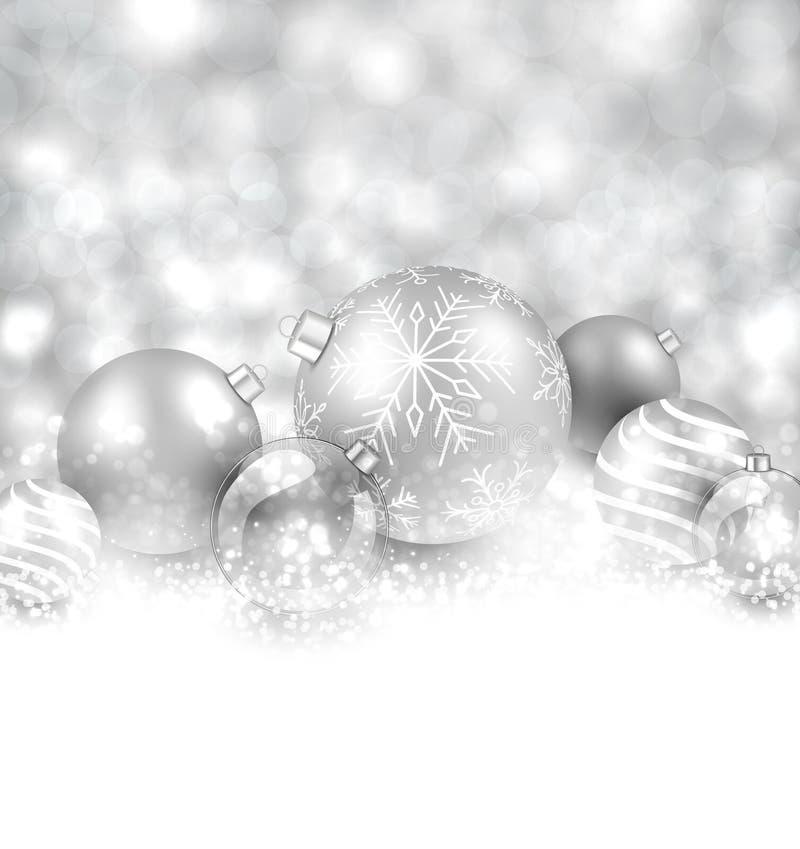Fond d 39 hiver avec les boules argent es de no l illustration de vecteur image 46578725 - Les boules de noel ...