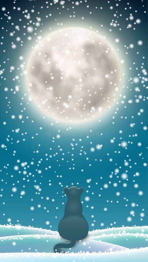 Fond d'hiver, chat se reposant dans la neige sous la lune illustration de vecteur