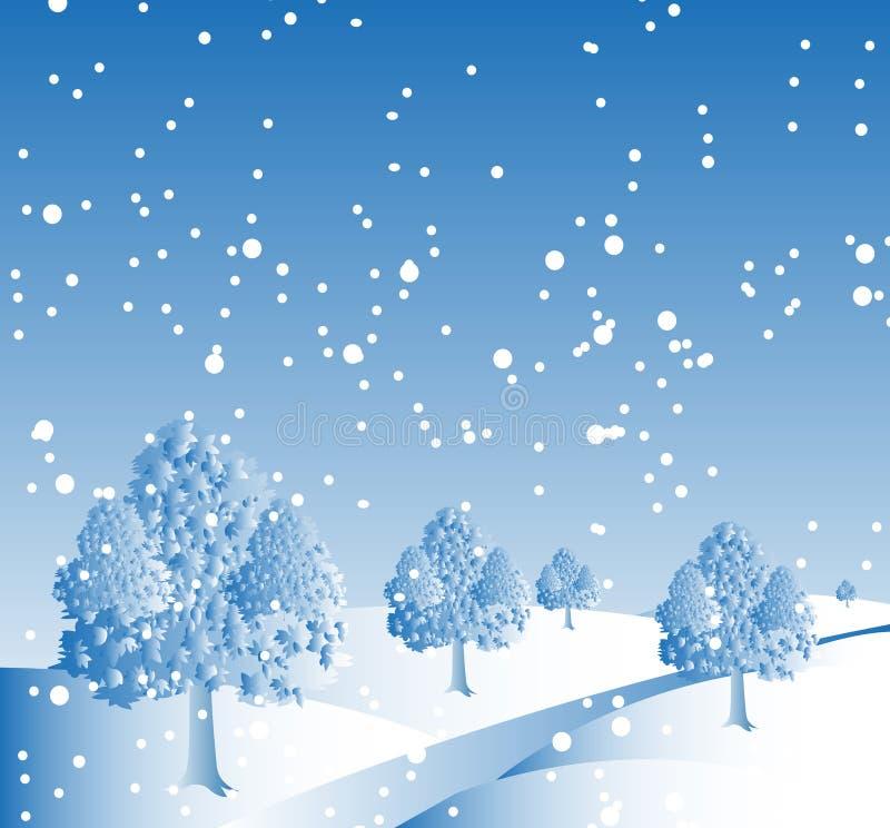 Fond d'hiver de neige illustration de vecteur