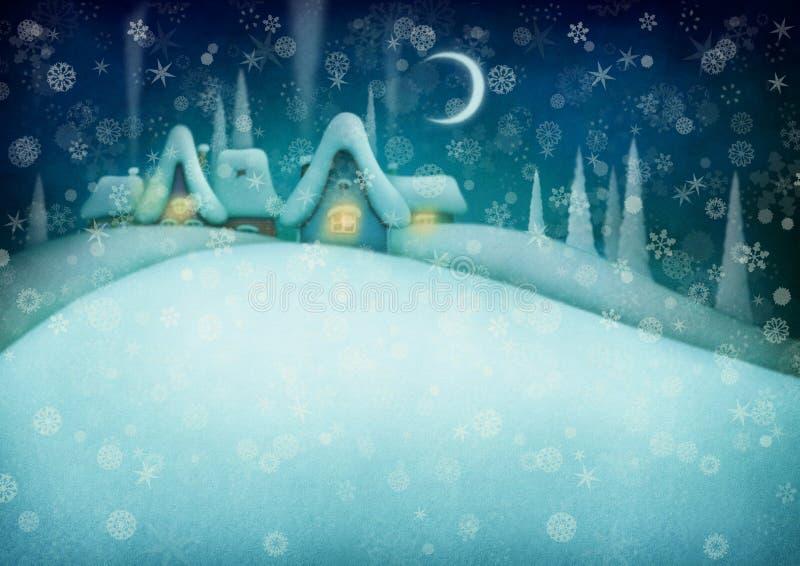 Fond d'hiver de nuit illustration de vecteur