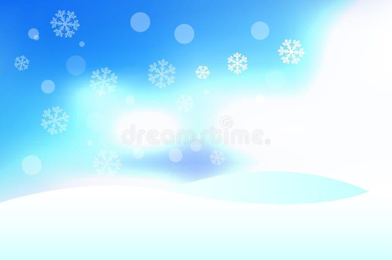 Fond d'hiver de vecteur avec les congères, le ciel bleu et les flocons de neige Éléments de conception de Joyeux Noël et de bonne illustration de vecteur