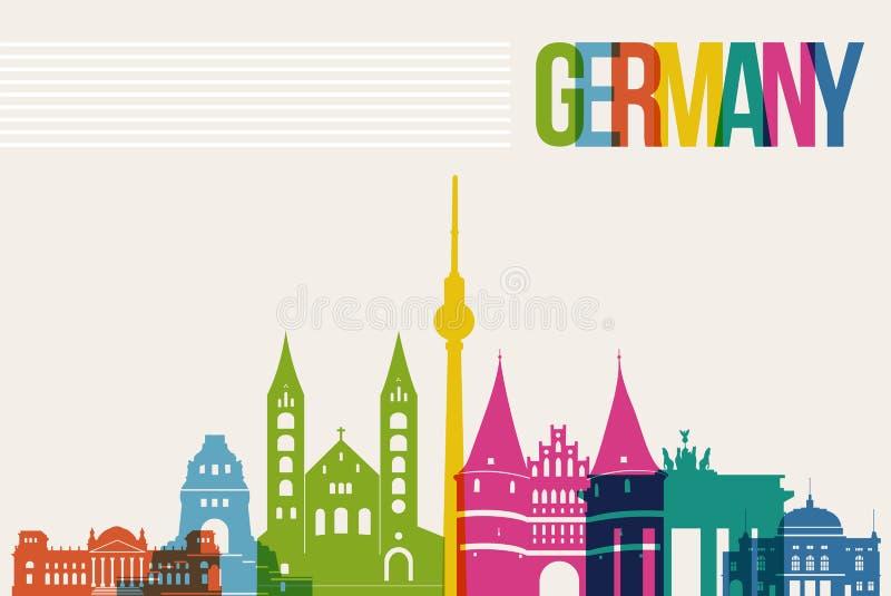 Fond d'horizon de points de repère de destination de l'Allemagne de voyage illustration de vecteur