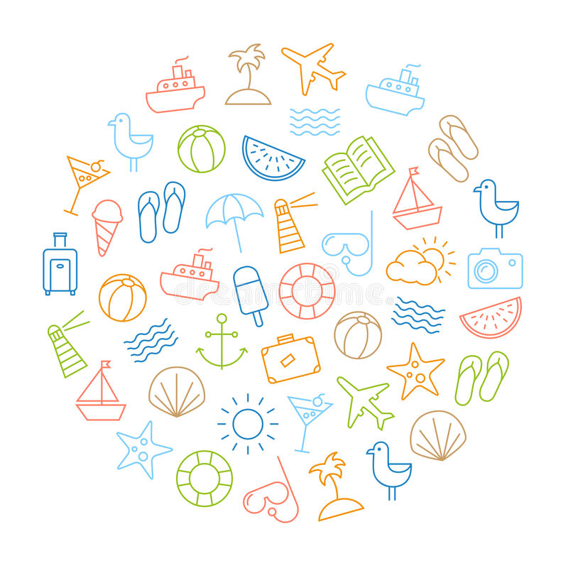 Fond d'icônes d'été illustration stock
