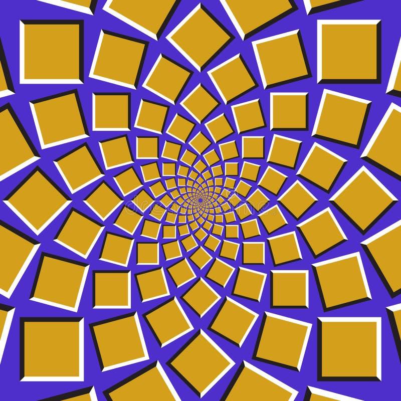 Fond d'illusion optique Les places d'or se déplacent circulairement vers le centre sur le fond bleu illustration de vecteur