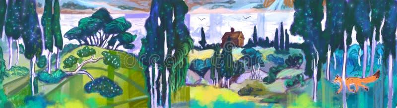 Fond d'illustration avec la forêt théâtrale de rideau avec le fond de renard illustration stock