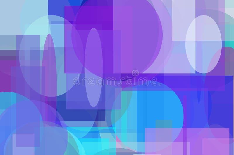 Fond d'illustration cercle et de places et de rectangles bleus violets abstraits d'ellipses illustration stock