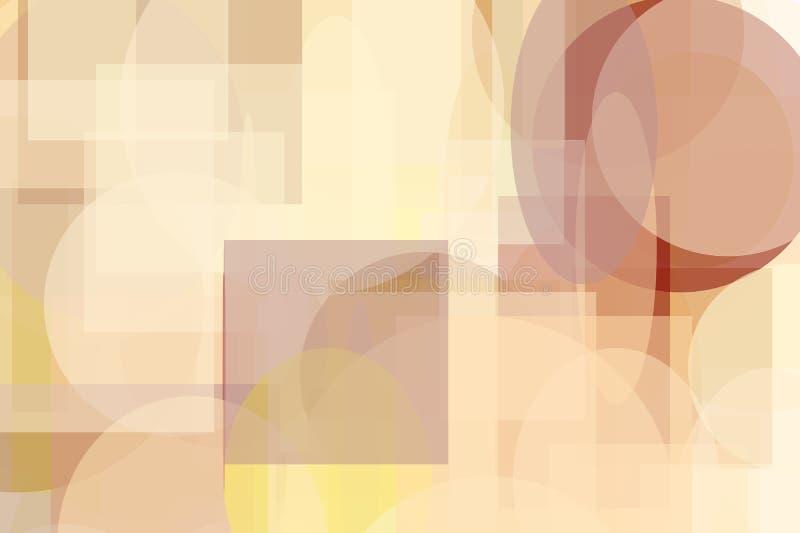 Fond d'illustration cercle et de places et de rectangles jaunes bruns abstraits d'ellipses illustration stock