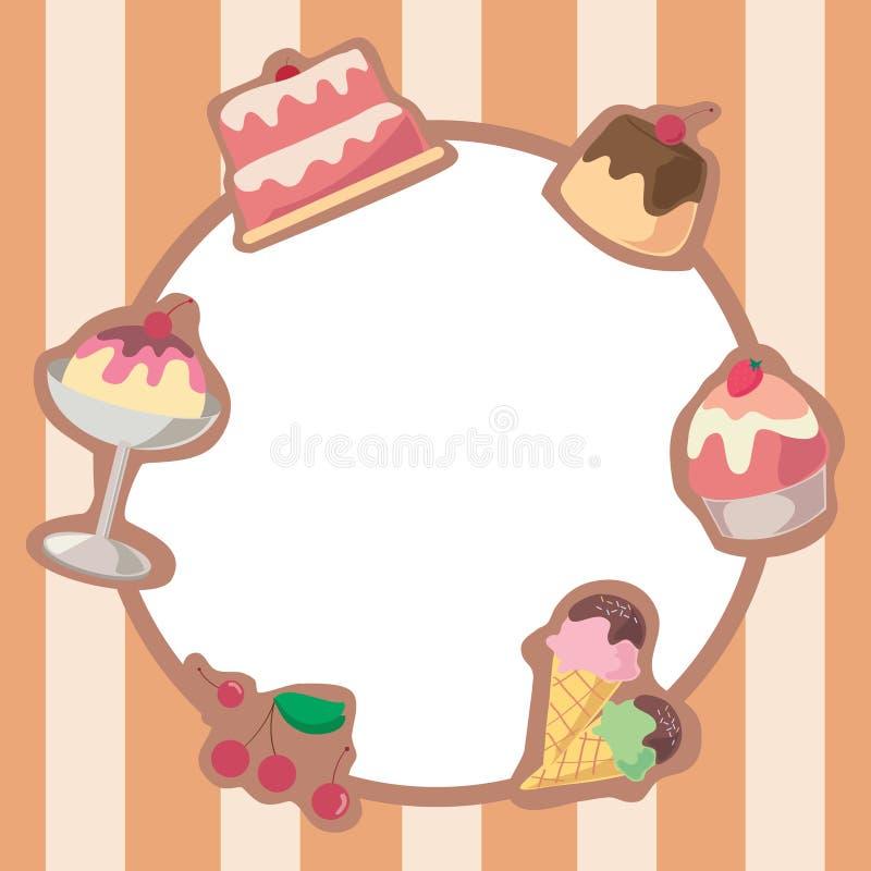 Cadre de crème glacée de gâteau et  illustration de vecteur